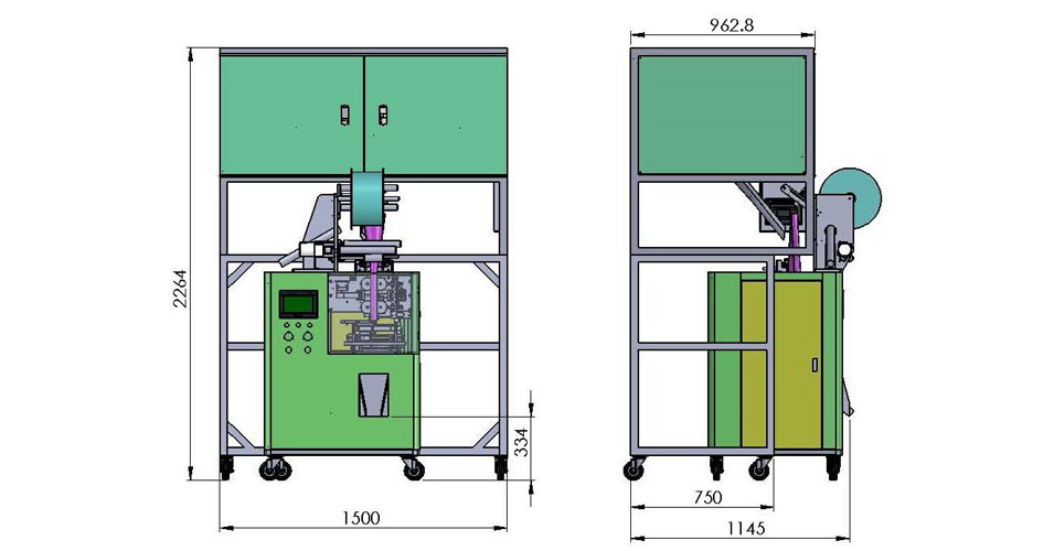 Triangle bag packing machine dimensions