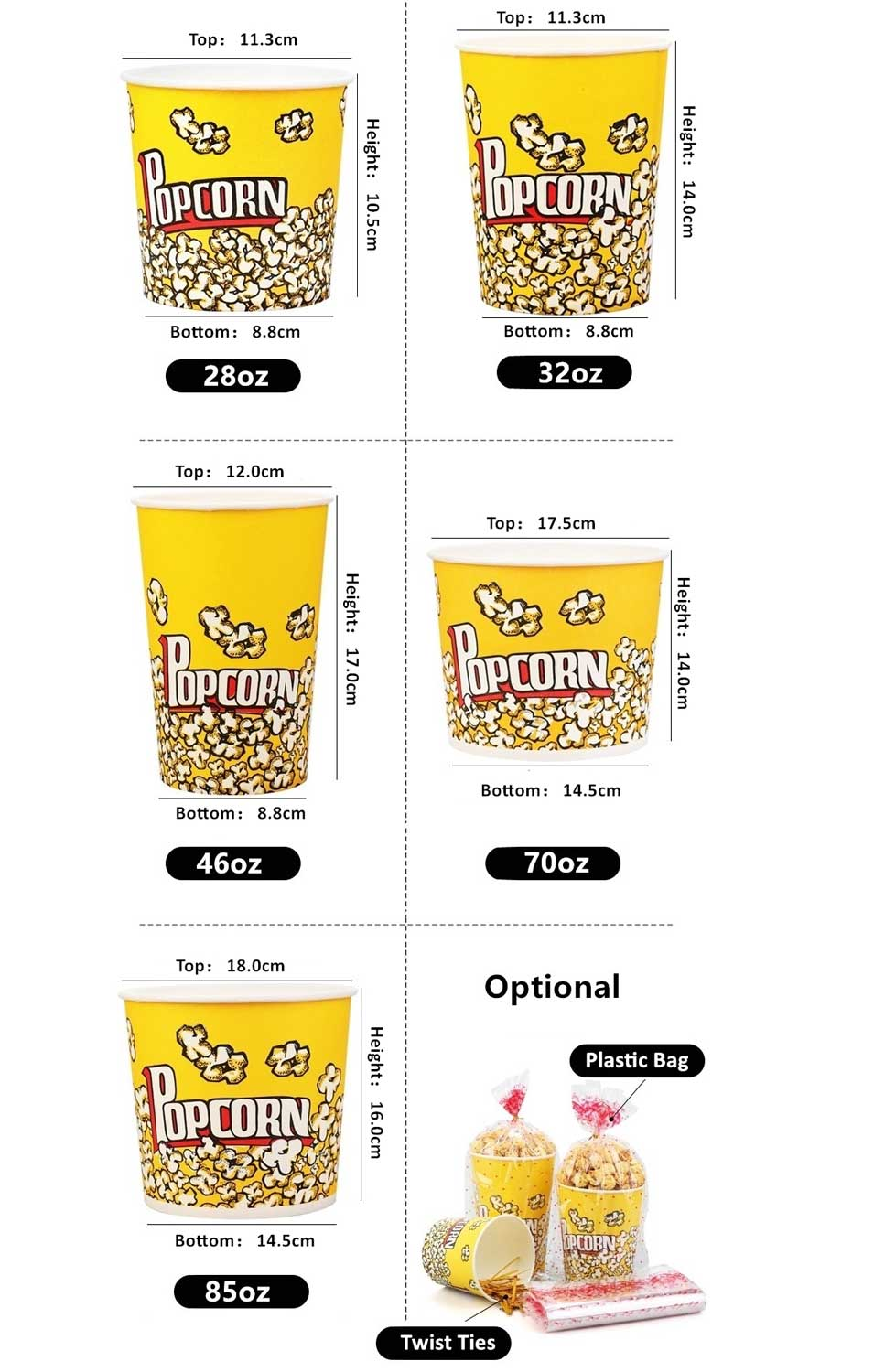 Custom Paper Popcorn Cup Various Size